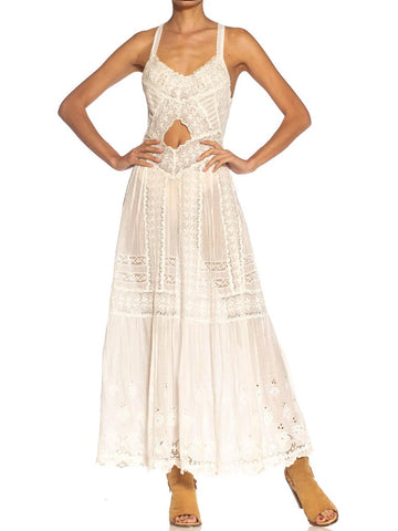 Victorian White Organic Cotton Lace Dress