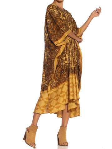 Morphew Collection Brown Paisley Rayon Kaftan