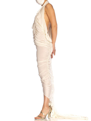 Ivory Rayon Blend Jersey Asymmetrically Draped Sexy Gown With Metal Mesh & Swarovski Crystals