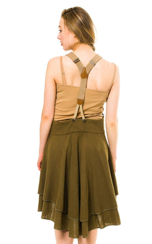 1980S Issey Miyake Olive Green Cotton Blend Overalls Style Dress