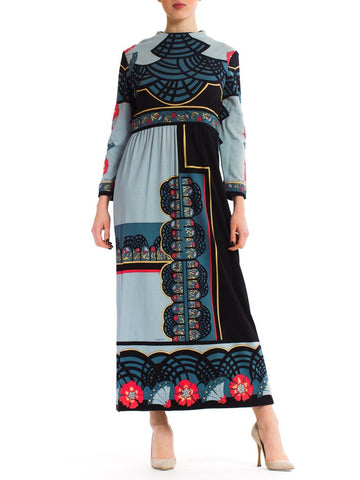 1970S Paganne Polyester Geometric Boho Printed Maxi Dress