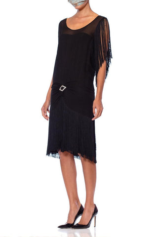 1920S Black Silk Chiffon & Fringe Flapper  Cocktail Dress With Rhinestone Buckle