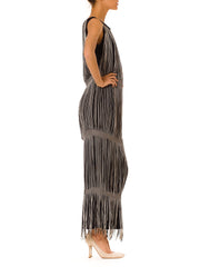 Fantastic Vintage 1970s Black and White Fringe Dress