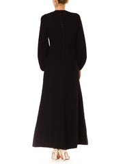 Stunning Vintage 1980s Gerard Cohen Long Black Sequined Silk Dress
