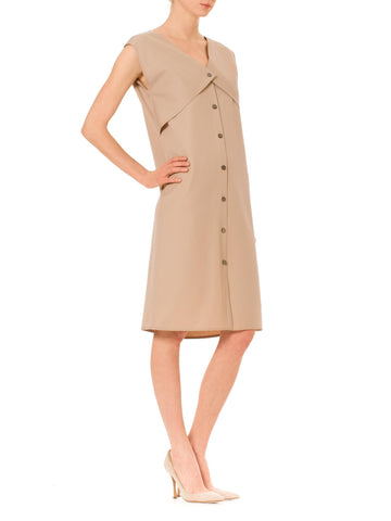 1980S Geoffrey Beene Khaki Wool Minimalist Dress