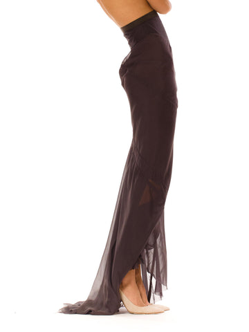 RICK OWENS Dark Grey Bias Cut Silk Deconstructed Trained Skirt