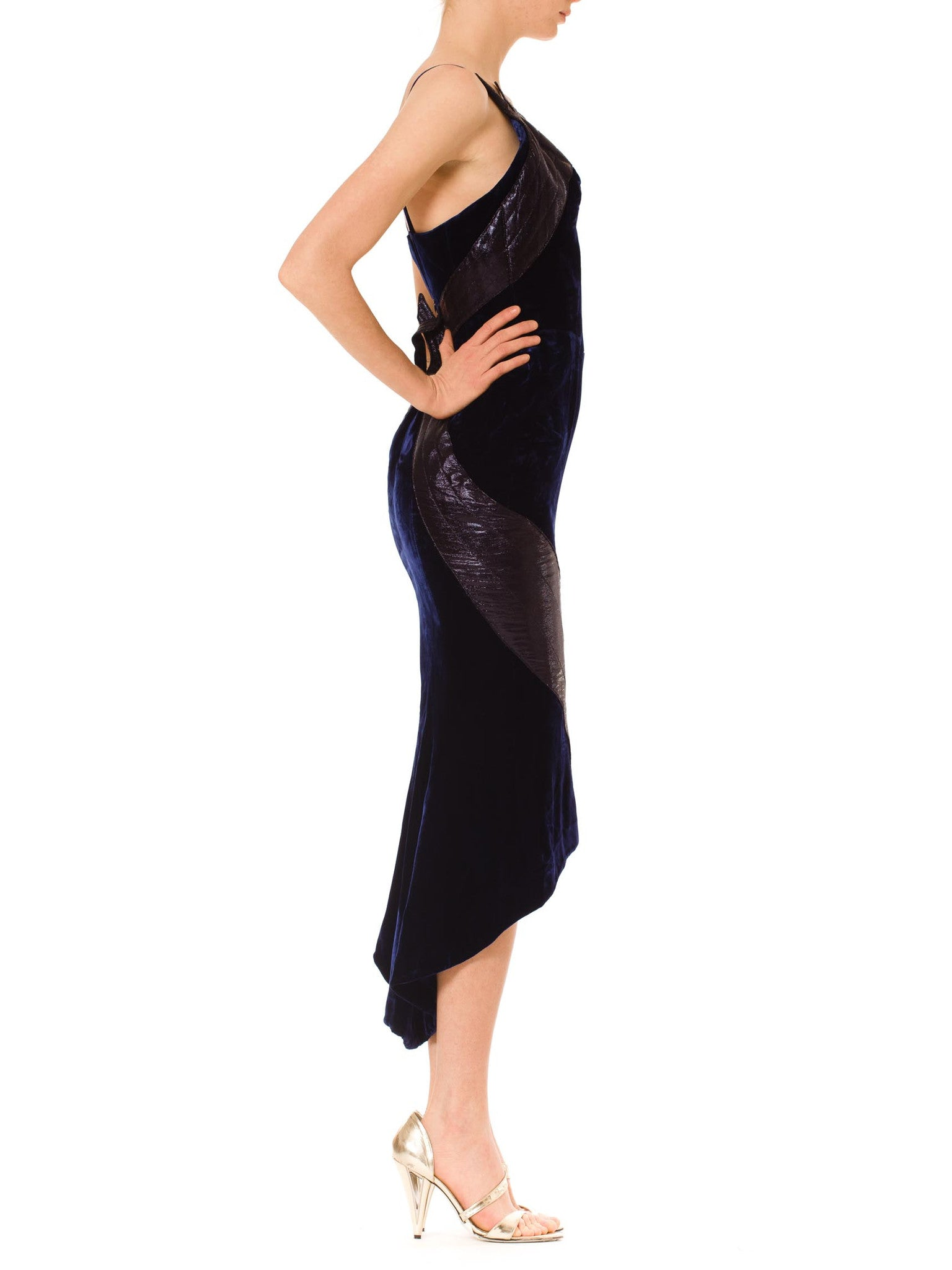 1980S THIERRY MUGLER Sapphire Blue  Rayon Velvet Cocktail Dress With Black Lamé Figure Hugging Fins