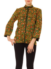 Vintage 1960s Green and Orange Floral Jacket