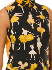 Rare Vintage 1990s Hermes Yellow and Green Ballerina Print Silk Vest