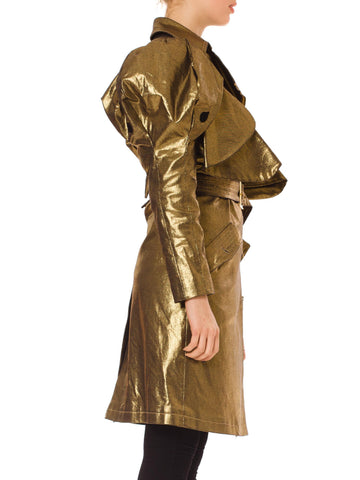 1990S JC DE CASTELBAJAC Metallic Gold Cotton Denim Belted Trench Coat With Elephant Trunk Sleeves