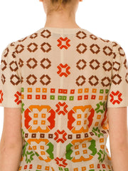 1960S Lanvin Haute Couture Wool Crepe Mod Geometric Top