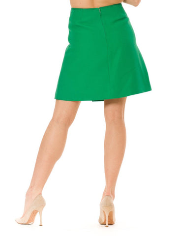1960S  PIERRE CARDIN Kelly Green Wool Iconic Mod Mini Skirt With Chrome Buttons, Lined In Rayon