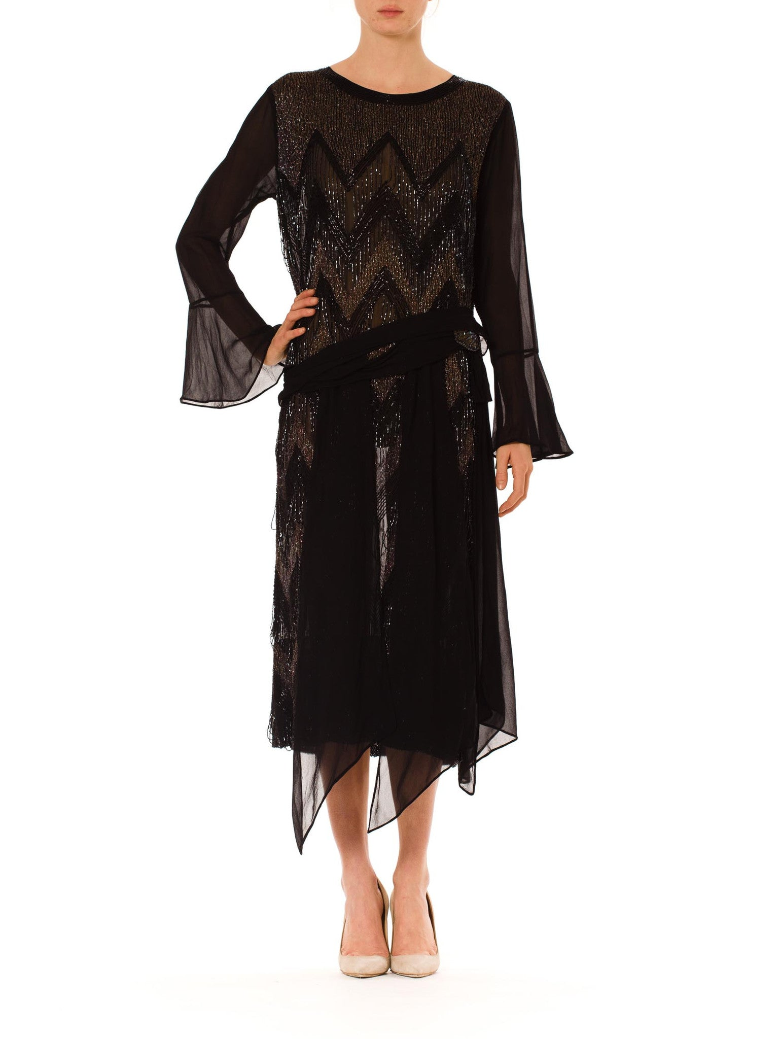 1920S Black Silk Chiffon Bell Sleeve Cocktail Dress With Chevron Metallic Embroidery & Jet Beading