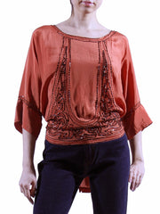 1920s Vintage Orange Silk Beaded Blouse