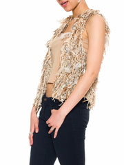 1980S Beige Cotton Blend Hand Knit Vest With Feathers