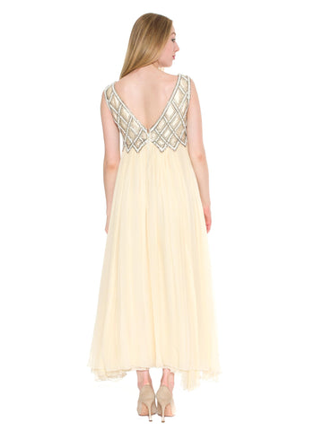 1960S Cream Beaded Silk Chiffon Empire Waist Gown With Matching Evening Bolero