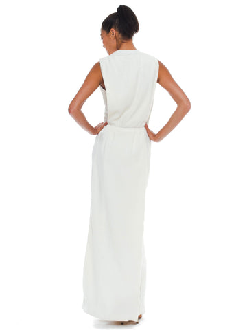 1960S PIERRE BALMAIN Off White Rayon & Silk Crepe Modernist Gown With Draped Back Train