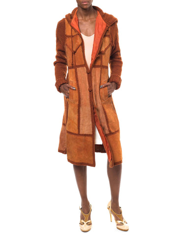 Chestnut Hued Vintage Suede Patchwork Sweater Coat