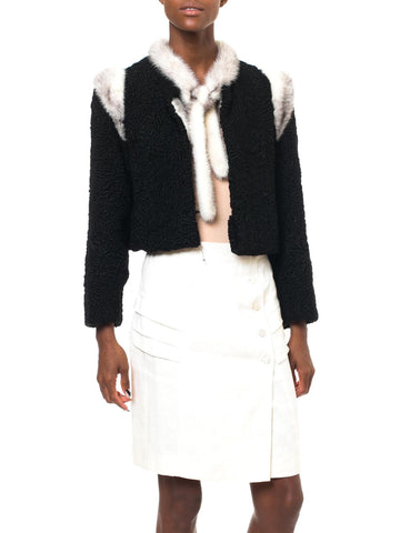 1960S MARY BROCKHOFF Black Cropped Lambs Fur Jacket Trimmed In Mink