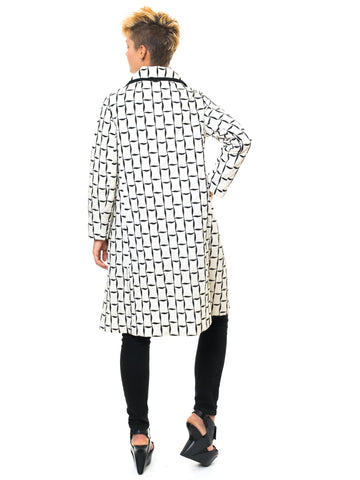 1960S Black & White Mod Geometric Embroidered Coat