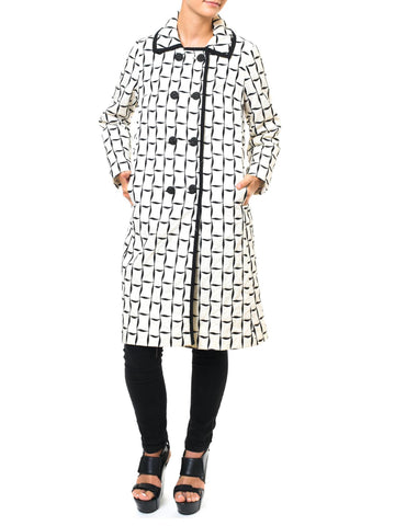 Mysteriously Playful Vintage 1960'S Black And White Balloon Coat