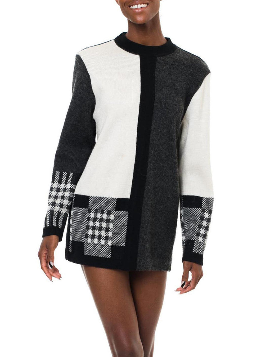 Black And White Geometric Long Sweater