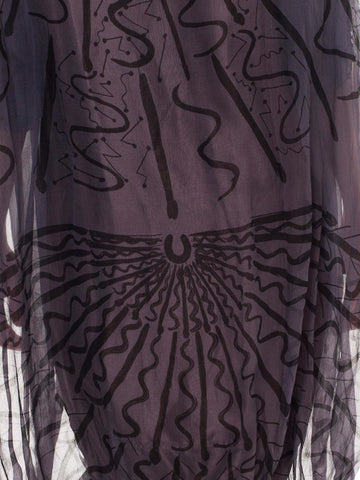 1980S ZANDRA RHODES Grey Silk Chiffon Dress With Pleating & Beading