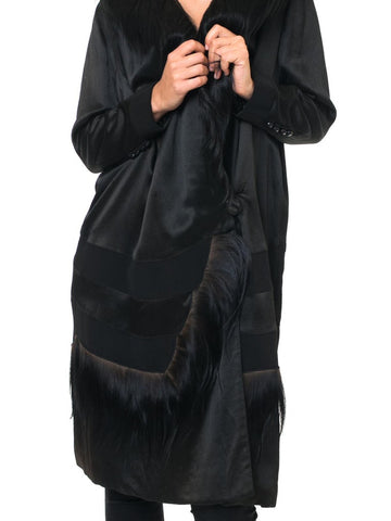 1920S Black Silk Satin  Coat Trimmed In Shaggy Fur