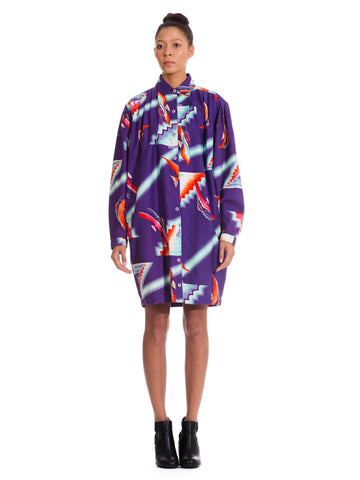 1980S KANSAI YAMAMOTO Printed Abstract Cotton  Tunic Oversized Shirt Dress With Pockets
