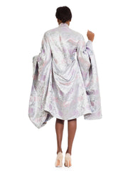 Incredible Vintage 1980's Silk Silver Kimono Inspired Floral Jacket