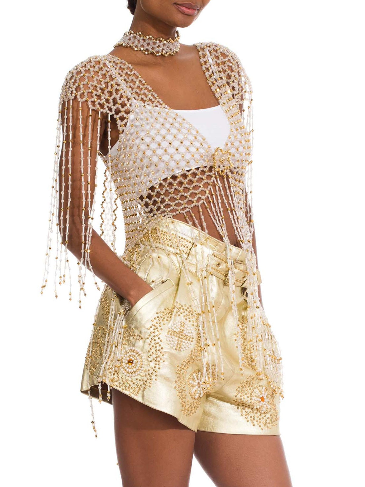 1960S Gold & Clear Beaded Net Jacket
