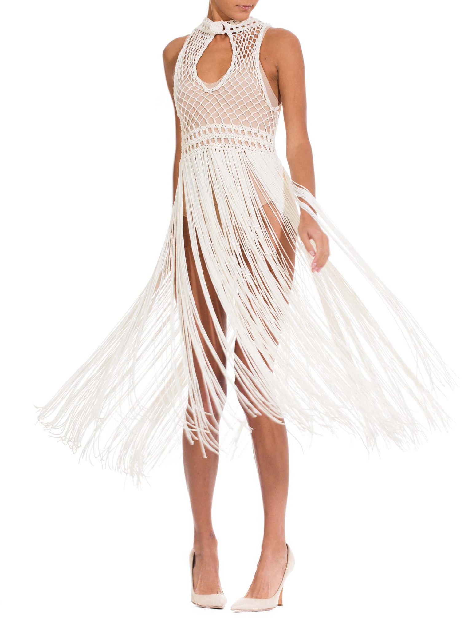 1970's Vintage White Macramé Fringe Dress