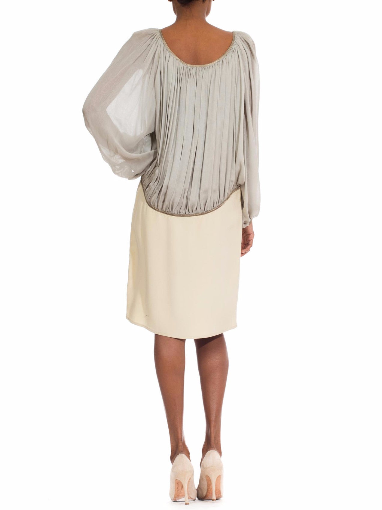 1980S GEOFFREY BEENE Cream & Grey Silk Chiffon Crepe Dress With Metallic Details