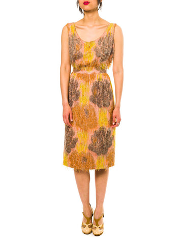 1950S CARVEN Amber Haute Couture Silk Taffeta Handwoven Floral Ikat Cocktail Dress Covered In Beaded Fringe