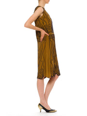 1920s Vintage Brown Dress with Blue Beading