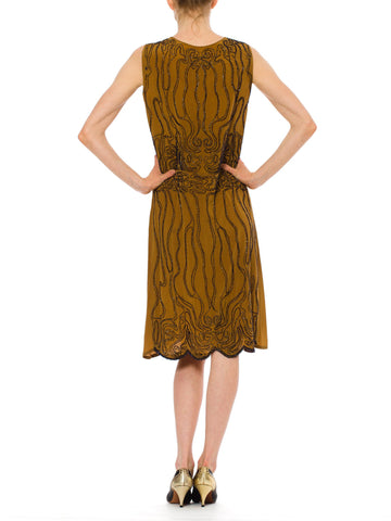 1920S Caramel Brown Beaded Silk Crepe De Chine 