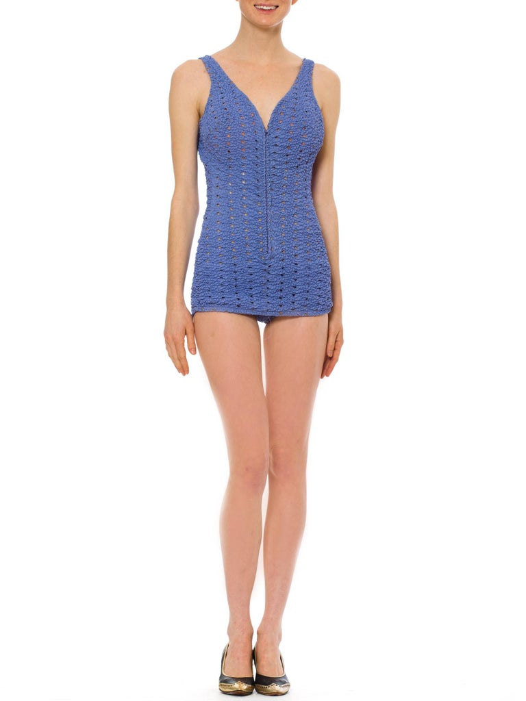 1960S Lilac One-Piece Swimsuit With Sexy Front Zipper XL