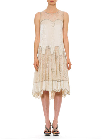 Romantic 1920s Vintage White Lace Silk Dress