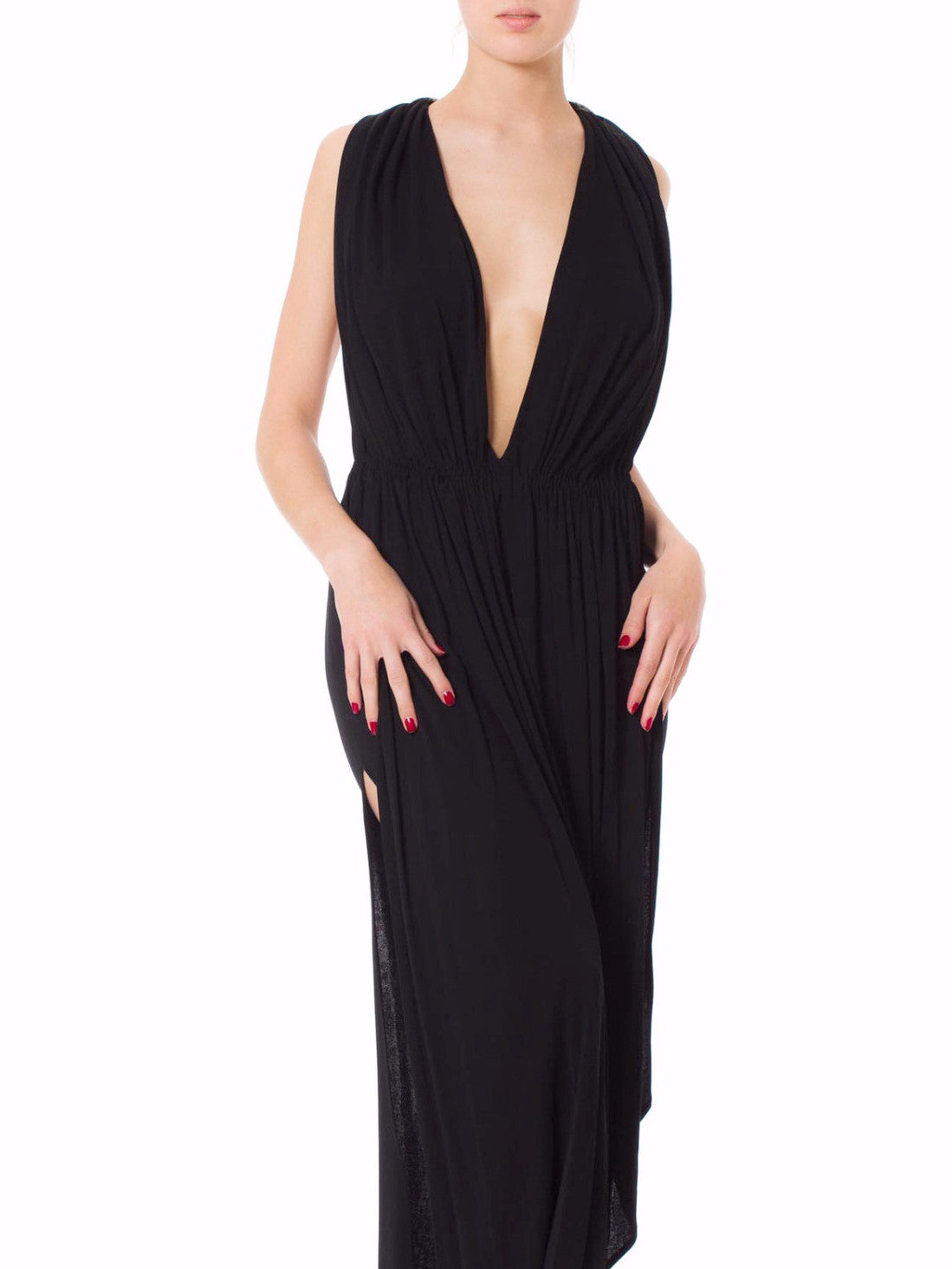 MORPHEW COLLECTION Black Rayon Jersey Glam Low Cut Gown With 1920S Chinese Embroidered Straps
