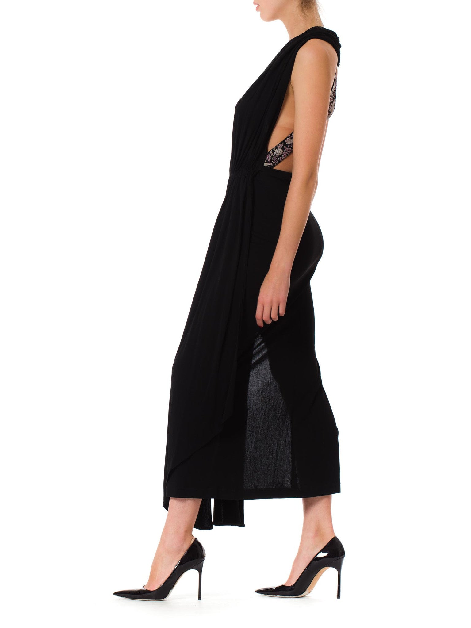 1970S Morphew Collection Silk Glam Black Deep Cut (Plunging Neckline)  Long Dress With Embroidered Asian Straps