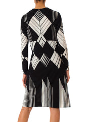 1960s Mr Dino MOD Black & White Geometric Pattern Long Sleeve Dress