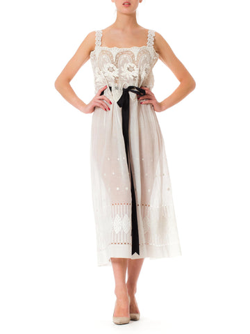 MORPHEW COLLECTION White Victorian Cotton Voile Dress With Lace Details & Black Ribbon Belt