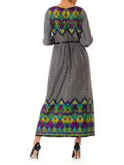 1970s Ethnic Geometric Optical Pattern Print Long Sleeve Dress