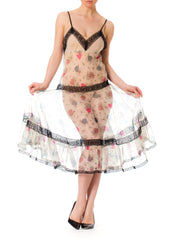 1950s Vintage Romantic Printed Halter Dress Lingerie with Victorian Lace