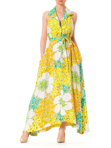 1970s Backless Psychedelic Floral Maxi Summer Halter Dress
