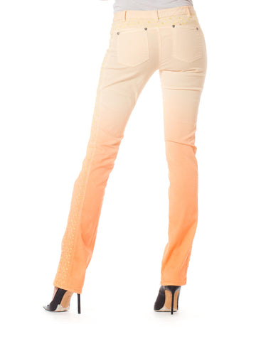 2000S GIANNI VERSACE Orange Ombré Cotton Stretch Jeans With Yellow Embroidery