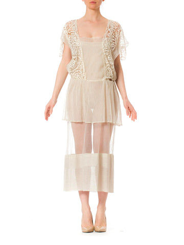1920s White Cotton Gauze Handmade Lace Dress