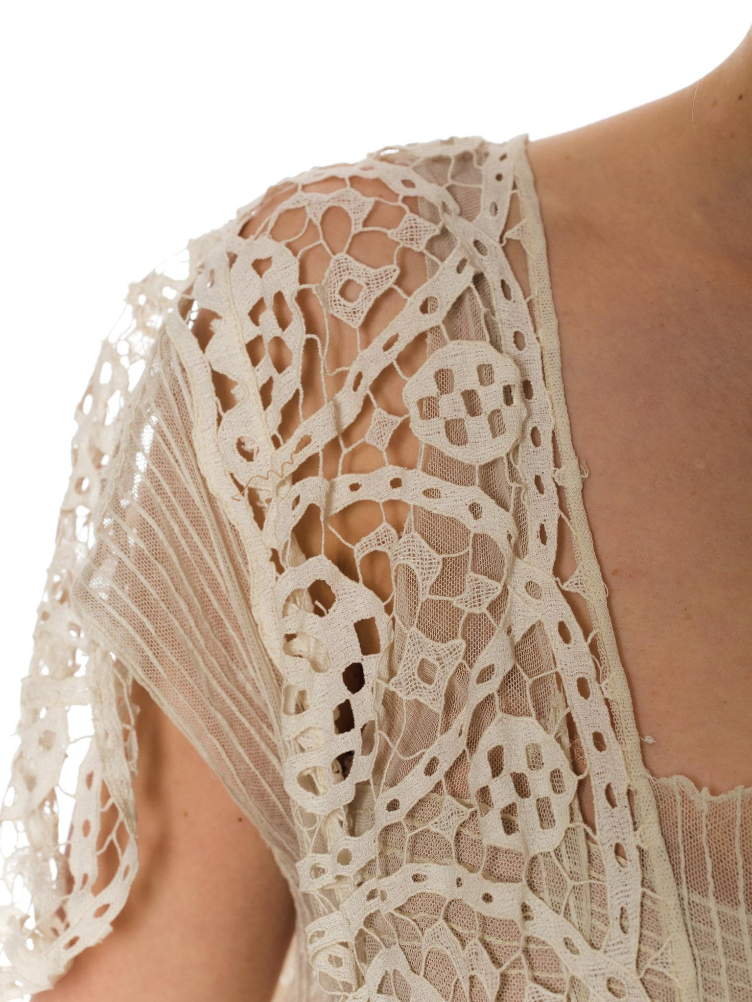 1920S Cream Cotton Net & Modernist Geometric Lace Dress