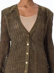 1990s Escada Olive Green Suede Leather Crochet Jacket