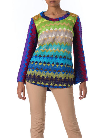 1960s MOD Tech Multi Color Zigzag Knitted Sweater
